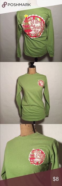 """""""Merry Christmas Y'all"""" Tee No Brand. Daisy Duff Boutique. Slogan on back. No damages. Olive green color.  $8 or make an offer. 30% off 2+ Listings (not applicable with special sales) Tops Tees - Long Sleeve"""