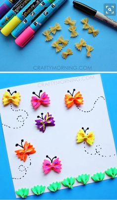 8 Macaroni Crafts For Kids is part of Kids Crafts Butterfly Popsicle Sticks There's nothing like a great afternoon arts and crafts session, and why not take a page from your childhood book and do - Kids Crafts, Daycare Crafts, Toddler Crafts, Beach Crafts, Family Crafts, Toddler Preschool, Macaroni Crafts, Pasta Crafts, Macaroni Art