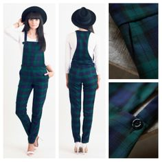 Todays Fashion Fix: Tartan Tailored Jumpsuit In Green. Tailored Jumpsuit, Overalls Women, Love Clothing, Green Shorts, Couture, Mode Inspiration, Dungarees, Frocks, Tartan