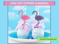 Flamingo Cupcake Toppers Flamingo Cake pop toppers by VICTORSTORE