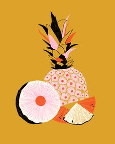 Pineapple, art deco, color-block print modern art art in 201 Art And Illustration, Illustrations, Pineapple Illustration, Invisible Creature, Design Poster, Motif Floral, Fruit Art, Mellow Yellow, Yellow Fruit