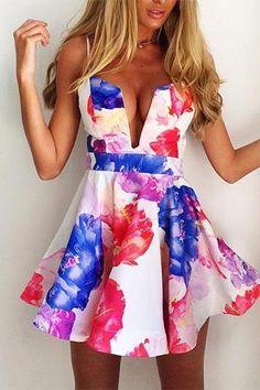 Sexy Low-Cut V-Neck Floral Print Sling Dress