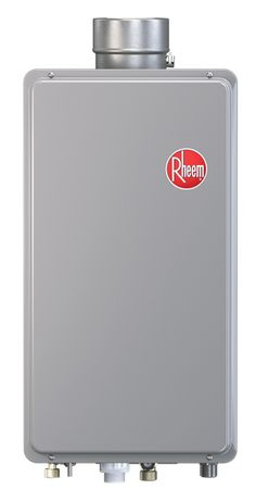 propane tankless water heater suitable for use indoors in a mobile home/RV so warranty isn't voided if installed in tiny home - check whether they will honor the warranty on a tiny home - Rheem Tankless Mid-Efficiency 64 Direct Vent Indoor Series