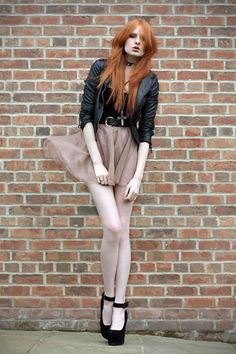 Faux Leather Jacket, Charity Shop Velvet Corset, Spike Cross, Tulle Skirt, Sos Heels
