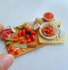 tagliatelle con fideos salsa de carne fimo arcilla polimérica miniatura miniatura comida salsa tallarines boloñesa hecha a mano