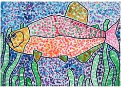Fish Pointillism: Class format:  Picture book reading - 15 min. Craft or art project - 20 min. Snack while listening to music - 15 min.  France - I greeted each child with