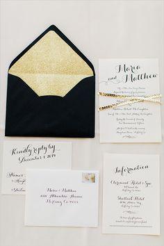 black and gold wedding invitation ideas @weddingchicks
