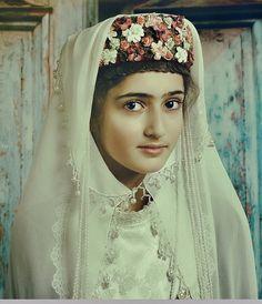 "An old Karin/Erzurum styled ""kopi"" (bridal/festive headgear). Armenian, clothing style: early 20th century."