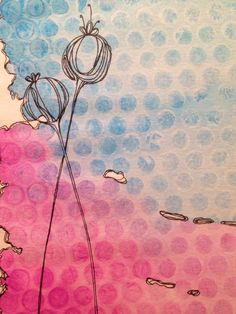 Watercolor, ink and bubble wrap
