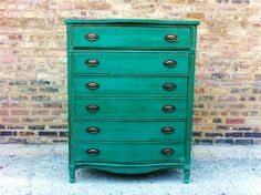 coral distressed Furniture | Vintage Dresser In Emerald Green RESERVED FOR RACHEL by minthome