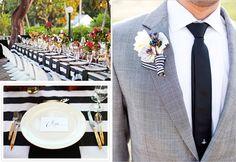black and white striped wedding
