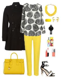"""Black & Yellow"" by solange-toric on Polyvore featuring Burberry, Etro, Yves Saint Laurent, Loeffler Randall, Mariah Rovery, Marni, MAC Cosmetics, Christian Dior, ESCADA and women's clothing"