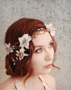 Smoke and mirrors  a floral flapper crown by gardensofwhimsy, $45.00
