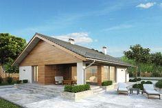 Parterowy dom z zadaszonym tarasem i garażem - Studio Atrium