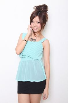 Sassy Toga Pleated Top (Mint) S$22.50 from: THELADYWEARS