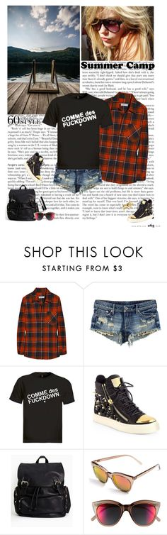 """gone camping"" by helena99 ❤ liked on Polyvore featuring H&M, ASAP, Giuseppe Zanotti, Le Specs, Chanel, NLY Accessories, Lindberg, summercamp and 60secondstyle"