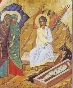 Icon showing the empty tomb and the angel appearing to the myrrh-bearing women. The Mother of God is on the far right.