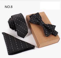 3PCS Slim Tie, Bow Tie and Handkerchief + Free Shipping
