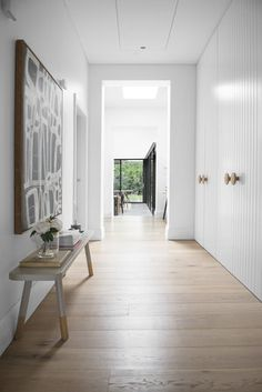 Such a free flowing, light filled space with our White Smoked floorboards to compliment the soft aesthetic of the house. Australian Interior Design, Interior Desing, Home Interior, Interior And Exterior, Hallway Cupboards, Bedroom Cupboards, Kitchen Cabinets, Home Design, Design Design