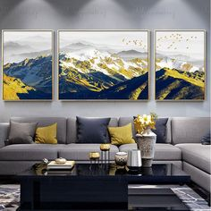 Excited to share the latest addition to my shop: 3 pieces gold art painting on canvas wall art pictures for living room wall decor original abstract mountains thick textured quadro caudro - Living Room Pictures, Wall Art Pictures, Painting Pictures, Abstract Pictures, Canvas Pictures, Art Pour Salon, Bedroom Frames, Mountain Decor, Mountain Art