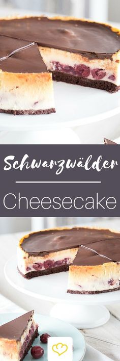 Black Forest meets New York: Black Forest Cheesecake- Schwarzwald meets New York: Schwarzwälder Cheesecake Because both are just too delicious, because you only once … - Cheesecake Cake, Cheesecake Recipes, Dessert Recipes, Easter Recipes, Vegan Desserts, Black Forest Cheesecake, American Cheesecake, Cake Vegan, Cookies
