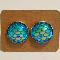 Aqua Mermaid Scale Earrings Stainless steel  Hypoallergenic plastic ear backs Jewelry Earrings