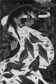 The Gilded Fox - Catherine Rowe Illustration, etching, print, fox, fairy tale, cambridge school of art, hare