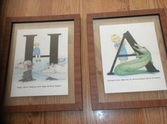 My friend drew these up and framed them for my kids! Love them, they look great in their room!