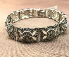 Love the intricate detail on this Art Deco Vintage inspired bracelet - now available in our half price sale for just - shop online Marcasite Jewelry, Half Price, Sterling Silver Bracelets, Vintage Inspired, Cuff Bracelets, Art Deco, Detail, Shop, Store