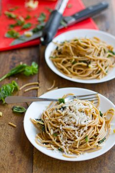 Garlic Butter Spaghetti  w/ Spinach and Herbs
