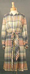 FUN Bill Blass Pleated Plaid Day Dress