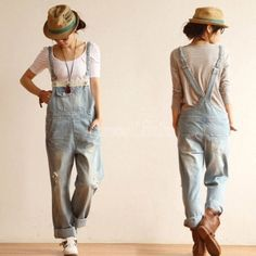 Women's Denim Overalls Strap Jeans Pants Jumpsuit Suspender