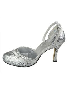 Silver Ankle Strap Bow Synthetic Bridal Shoes. See More Bridal Shoes at http://www.ourgreatshop.com/Bridal-Shoes-C919.aspx