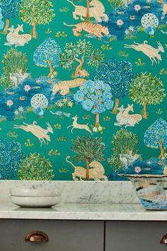Pamir Garden by Sanderson - Teal / Peacock - Wallpaper : Wallpaper Direct