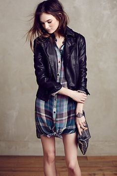 With a Napoleon collar and interesting seaming at the shoulder. Vegan Leather Moto Jacket #anthropologie