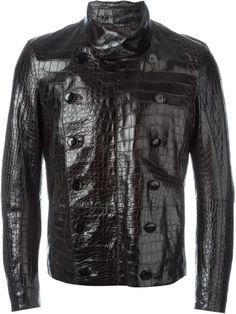 GIORGIO ARMANI Alligator Leather Buttoned Jacket. #giorgioarmani #cloth #jacket