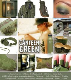 Welcome to the canteen! This shade of green is rugged, military inspired and ranges from hip and gloss to muted and matte finished. Great for home decor and fashion alike, it's a perfect hue for all occasions! For more images of Canteen Green visit w