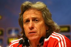 Manager Jorge Jesus of Benfica looks on during an SL Benfica press conference ahead of the UEFA Europa League Final match against Chelsea at the Amsterdam Arena on May 14, 2013 in Amsterdam, Netherlands
