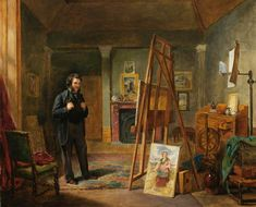"""Thomas Faed at His Easel in His Studio"" by John Ballantyne (1815–1897) - Aberdeen Art Gallery & Museums"