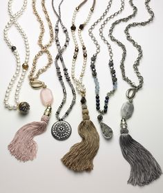 Grand Strands. Our favorite ways to hold sway: Tassel and Pendant Necklaces.