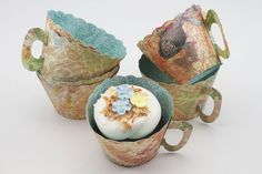 These teacup cupcake wrappers are so fun to make and look so cute!