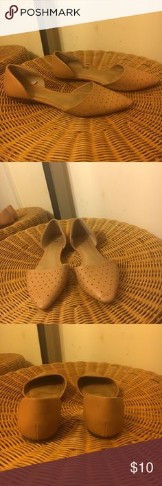 The Gap Leather Flat Genuine perforated leather flat. Super comfy pointed toe. Good condition, some wear at front tip, side and back.... overall looks in good shape.  The perfect flat for your wardrobe. GAP Shoes Flats & Loafers
