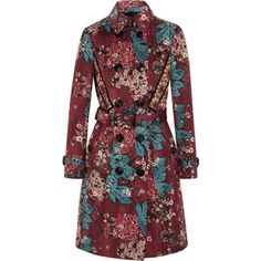 Burberry Prorsum Embroidered floral-print cotton-blend trench coat