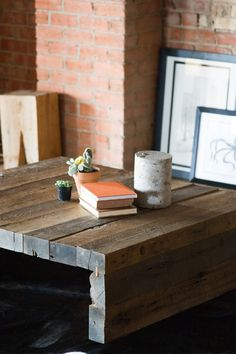 Rustic Modern Coffee Table by KithandKinStore on Etsy.