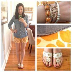 OOTD (Taken with instagram) Shirt, J. Crew Shorts, J. Crew Sandals, Jack Rogers Monogrammed Bracelet, Gold Cuff, Giraffe Bracelet