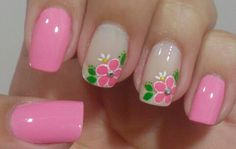 Nail art: Black french with yellow flowers Cute Spring Nails, Summer Nails, Cute Nails, Pretty Nails, Toe Designs, Nail Art Designs, Flower Nails, Simple Nails, Manicure And Pedicure