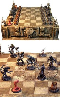 I don't even know how to play chess but I want this Predator vs Aliens Chess