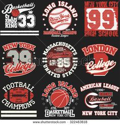 Sport Typography Graphics logo set, T-shirt Printing Design. Athletic original wear, Vintage Print for sportswear apparel