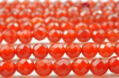 47 pcs of Natural Carnelian faceted round beads in 8mm (64 faces)