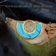 14KT Yellow Gold Plated Turquoise Tabla Septum or Daith Ring by Buddha Jewelry Organics
